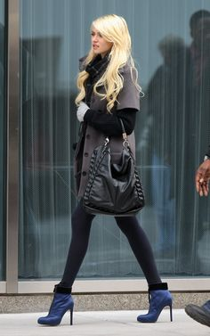Blue ankle boots to accent. Perfect.