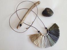 Grey Fog 3 la Calma  Ombre fiber tassel necklace by NinaPaco