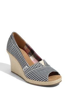 Toms Nautical Striped Wedges- a good shoe for a good cause and they are cute as a button