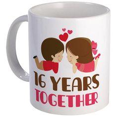 16 Years Together Anniversary Mug on CafePress.com