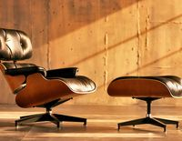 """Charles and Ray Eames made the lounge chair and ottoman as a gift for their friend Billy Wilder, the director of """"Some Like It Hot"""" and """"Sunset Blvd.""""  circa 1956  #design"""