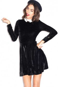 Oh My Love Parisian Black Velvet Skater Dress with White Lace Collar
