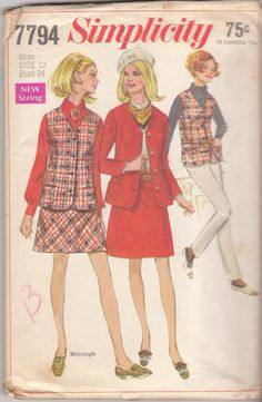 Simplicity 7794 Vintage Sewing Pattern 1968 Skirt Vest Jacket Pants by BirdhouseBooks on Etsy