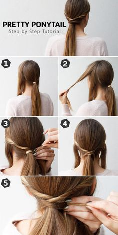 35 Very Easy Hairstyles to do in Just 5 Minutes or Less Short Hair Ponytail, Twist Ponytail, Ponytail Hairstyles, Diy Hairstyles, Ponytail Updo, Hairstyle Tutorials, Ponytail Styles, Updo Hairstyle, Wedding Hairstyle