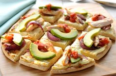 Chicken pizza with avocado and salsa