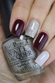 Dark red, glittery silver, white nails (Winter)