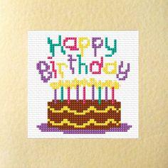 "Cake Design - ""Happy Birthday"" Cards - Cross Stitch Kits 5.5"" x 5.5"""