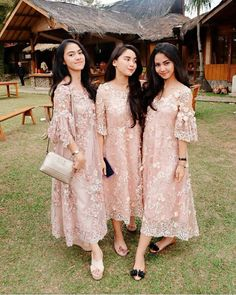 We love this baby pink lace dress for bridesmaid attire! Inspired from Dress Brukat, Hijab Dress Party, Batik Dress, The Dress, Dress Outfits, Fashion Dresses, Dress Lace, Lace Dress Styles, Swag Dress
