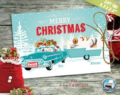 Merry #Christmas Gift Tags  Printable Favor by DesignTrunkInc #gifttag #retrosanta #vintagesanta #holidaytag #etsyseller #bestofetsy #holiday #joy #favortag