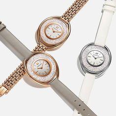 Habille ton look avec les montres cristalline- maintenant disponible dans une rose d'or et couronné par un cristal Swarovski. http://www.bijouterielaperlerare.ca #bijouterielaperlerare