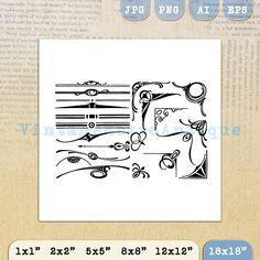 Design Elements Printable Graphic Download by VintageRetroAntique