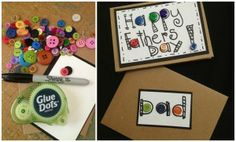 Buttons for handmade Fathers Day cards...simple and fun #laurakellyart #gluedots