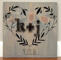 String art with heart and couples initials my string art initials string art for wedding engagements anniversary dating couple vine heart prinsesfo Gallery
