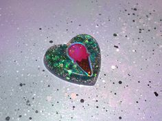 Glittery Teal Pink Ice Cream Heart Brooch, Hair Clip, or Necklace // Pastel Goth Kawaii Resin Heart Jewelry // Pastel Grunge Choker