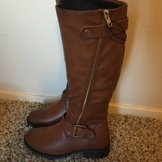 """Forever 21 faux leather riding boots NWT : color - """"CAMEL"""" .  (The white spot on the 2nd and 3rd picture was just a piece of confetti i didnt notice was there) Forever 21 Shoes Over the Knee Boots"""