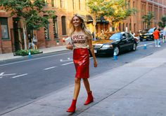 Camille Charrière in a Ganni t-shirt, Creatures of the Wind skirt, Dorateymur…