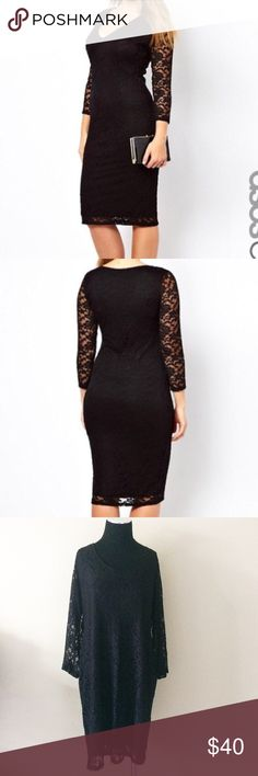 ASOS curve 16 black lace midi dress ASOS curve size 16 black lace dress . Lined . New with tags ! Gorgeous little black dress ASOS Curve Dresses Midi