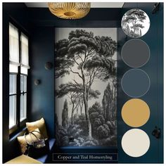 This stunning room - Elle France - with dark blue walls and mural definitely has the wow factor. My colour palette includes Hague Blue by Farrow and Ball - the yellow pop of colour is just genius. Dark Blue Rooms, Blue Gray Bedroom, Dark Blue Living Room, Dark Blue Walls, Dining Room Blue, My Living Room, Dark Blue Hallway, Dark Blue Lounge, Blue Bedrooms