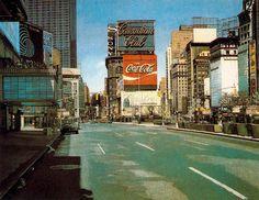 Richard Estes Times Square New York City Oil on Masonite 1970s