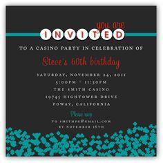 Casino Themed Birthday Invitation 5x5 or 5x7 by JamesPaigeDesign, $16.00