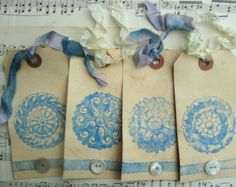 Gift Tags Shabby Blue White All Occasion Medallion Pattern Handmade Shabby Vintage Large Gift Tags Vintage Button Tags Paper Goods Gift Wrap