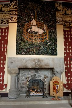 This is my photo of one of several tapestries in The Queen's Hall in Stirling Castle, Scotland.  Their designs similar to a set of Renaissance tapestries, woven in the 1500s, that are house at the Cloisters Museum in New York.   According to the Stirling Castle website, the project to produce the tapestry replicas has been partly funded by the Quinque Foundation of the United States.