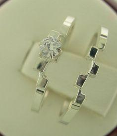 Checkout this amazing product Beautiful New Genuine Diamond Interlocking Engagement Ring Set White or Yellow Gold 14kt Size 3-10 at Shopintoit