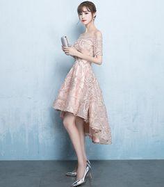 Off Shoulder Short Sleeve Homecoming Dress, Tulle High-Low Applique Ho – OkBridal