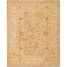 This Safavieh oriental rug features pot-dyed hand-spun wool thatresults in a soft to the touch fabric with a look of antiquity.This exquisite floor covering features warm neutral colors,graceful flora