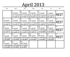Kick-Ass April workout from shrinkingjeans.net, updated for 2013