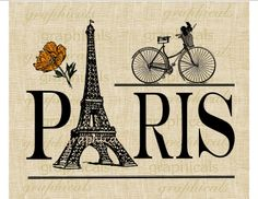 Paris Eiffel Tower Digital download image Bicycle by graphicals
