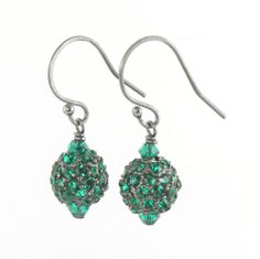May Birthstone || Emerald Pave crystal dangle earrings