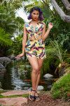 Dixiefried Tiki Playsuit in Banana Print | Pinup Girl Clothing