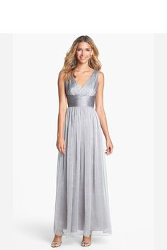 Long silver bridesmaid dress
