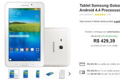 "Tablet Samsung Galaxy Tab E T113 8GB Wi-Fi Tela 7"" Android 4.4 Processador Quad Core 1.3GHz << R$ 42939 >>"