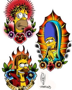 Traditional Tattoos, The Simpsons Simpsons Drawings, Simpsons Tattoo, Simpsons Art, Chicano Drawings, Chicano Art, Cartoon Tattoos, Anime Tattoos, Disney Cartoons, Desenho New School