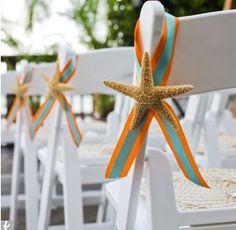 ribbon and starfish, simple/classy/beachy