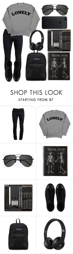 """Sad Girl #1"" by casualbandgirl ❤ liked on Polyvore featuring Yves Saint Laurent, Converse, JanSport, black and teen"