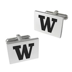 College Jewelry Wake Forest University Demon Deacons Cufflinks Natural Finish Sterling Silver Round Top Cufflinks