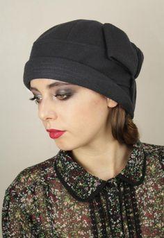 "Navy Wool ""Sasha"" Cloche Hat"