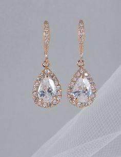 Crystal Bridal earrings, Rose Gold Wedding jewelry Swarovski Crystal Wedding earrings Bridal jewelry, Ariel Rose Gold Drop Earrings