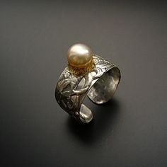 Pearl ring  sterling silver ring with peach colored by StudioAngel, $84.00