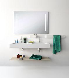 UNIBANO-Pack312-Baño Mueble de baño con encimera de 120cm con 2 lavabos y estantería. PVP Recomendado 1300€
