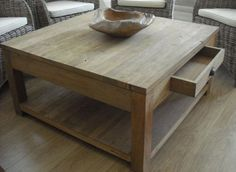 Rustic Recycled Teak Coffee Table with Drawer and shelf - Sustainable Furniture