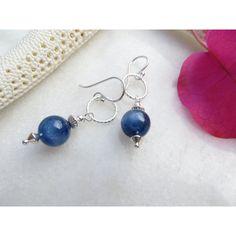 Inspiredby10 ($33) ❤ liked on Polyvore featuring sterling silver drop earrings, boho earrings, drop dangle earrings, sterling silver jewelry and blue dangle earrings