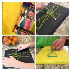 Cute - string Easter Cross craft - I think Riley might be able to do this now :)