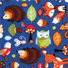 blue forest animal fabric Timeless Treasures owl fox