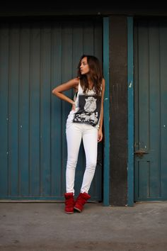 Jeans: American Apparel.  Vest: ASOS mens (borrowed from The Boy!) Red Becket Sneakers: Isabel Marant