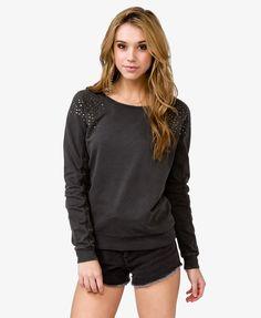 Studded Shoulder Pullover | FOREVER21 - 2025012918