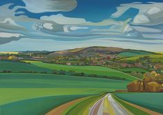 The Lambourn View - oil painting - by Anna Dillon. - Anna Dillon was born in Berkshire in 1972 and grew up in Wiltshire and Oxfordshire near Avebury, The Uffington White Horse Hill and The Ridgeway.